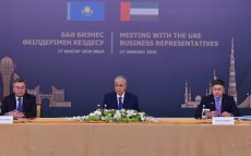Kassym-Jomart Tokayev speaks at a round table with participation of the Emirates' companies