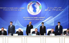 Participation in the briefing for the media following the Fifth Caspian Summit